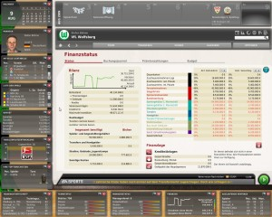 """Finanzstatus - Screenshot aus """"Fußball Manager 10"""" von EA Sports"""
